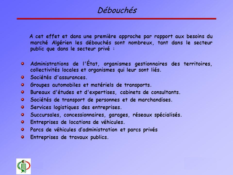 25 Oléron 2003 Débouchés A cet effet et dans une première approche par rapport aux besoins du marché Algérien les débouchés sont nombreux, tant dans l