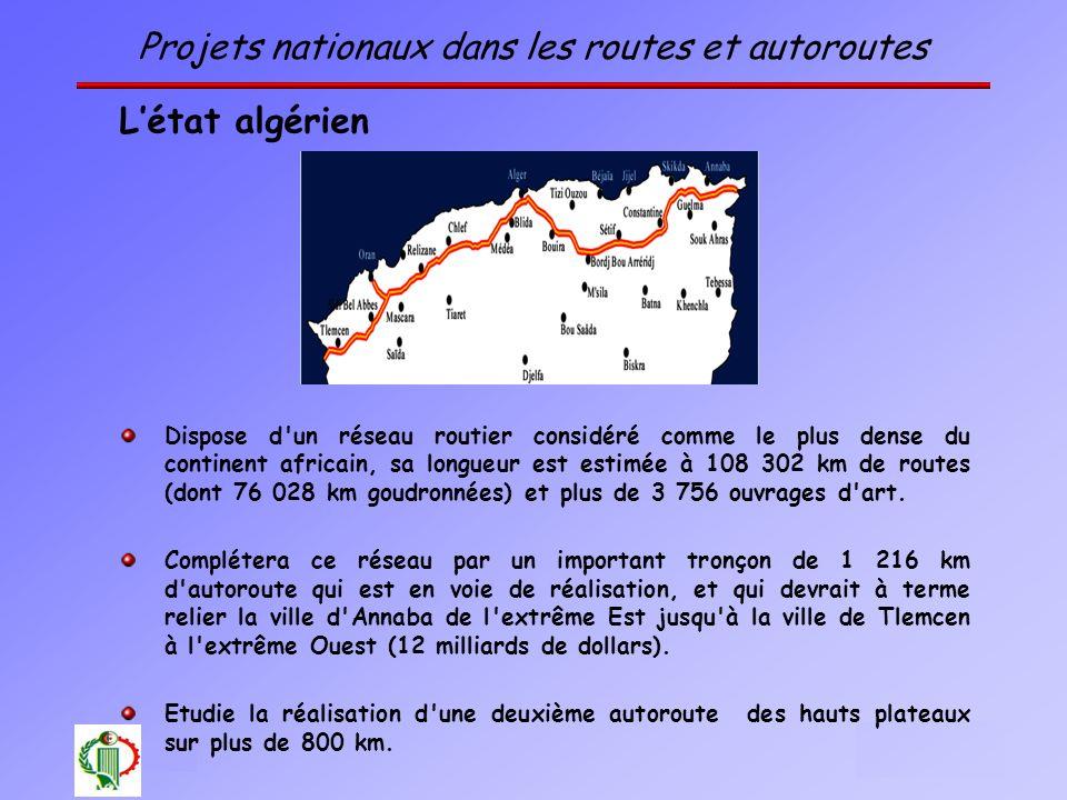 7 Oléron 2003 Projets nationaux dans les routes et autoroutes Létat algérien Dispose d'un réseau routier considéré comme le plus dense du continent af