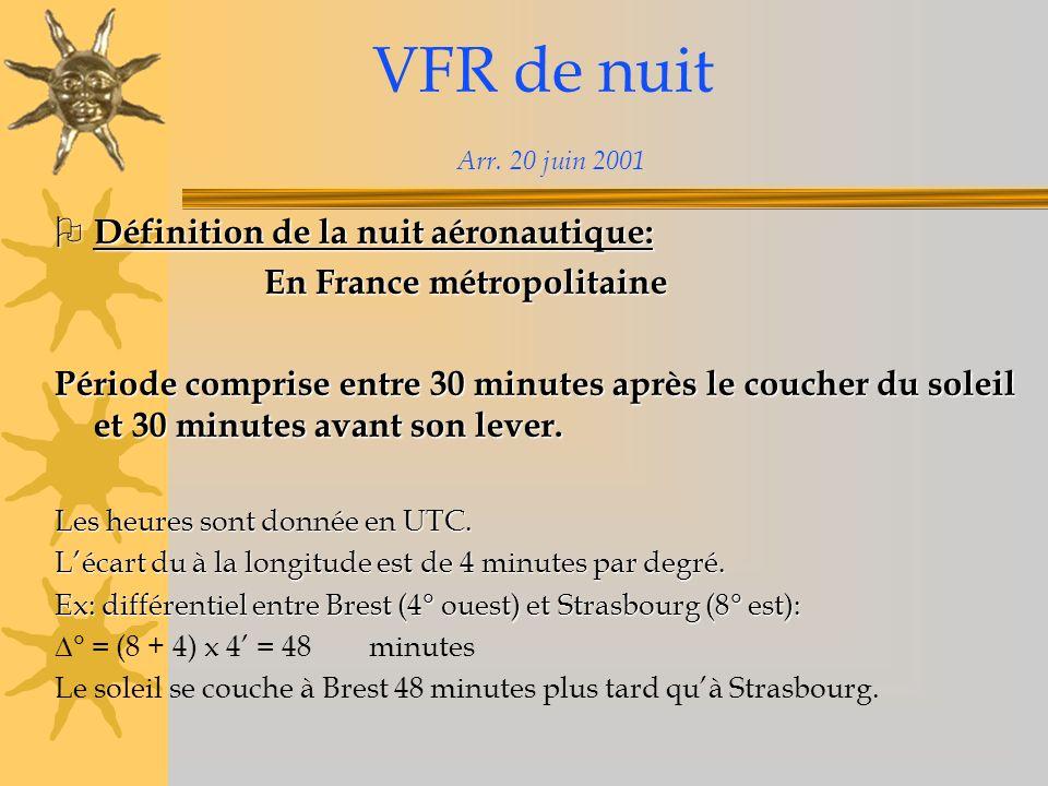 VFR de nuit - conditions météo Vol local à moins de 6,5 Nm de l aérodrome ou à l intérieur des espaces aériens associés, CTR et TMA: Vol local à moins de 6,5 Nm de l aérodrome ou à l intérieur des espaces aériens associés, CTR et TMA: Visibilité > = 5 km Base des nuages > = 1500 pieds En vue de laérodrome Voyage: Voyage: Visibilité > = 8 km sur le trajet Base des nuages > = 1500 pieds au-dessus du FL croisière Garder la vue du sol ou de leau Pas de précipitations, orages prévus entre les aérodromes utilisés, départ, destination et dégagement éventuel.