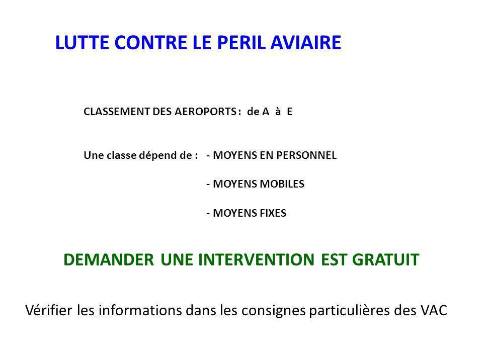 LUTTE CONTRE LE PERIL AVIAIRE CLASSEMENT DES AEROPORTS : de A à E Une classe dépend de :- MOYENS EN PERSONNEL - MOYENS MOBILES - MOYENS FIXES DEMANDER UNE INTERVENTION EST GRATUIT Vérifier les informations dans les consignes particulières des VAC