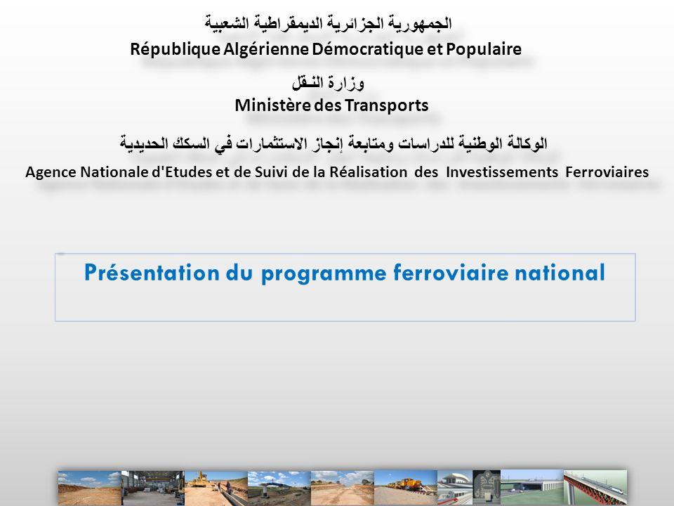 Présentation du programme ferroviaire national Ministère des Transports Agence Nationale d'Etudes et de Suivi de la Réalisation des Investissements Fe