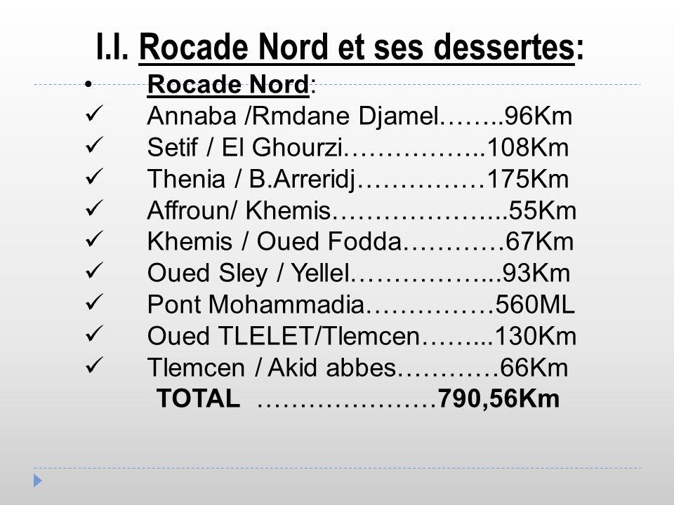 I.I. Rocade Nord et ses dessertes: Rocade Nord: Annaba /Rmdane Djamel……..96Km Setif / El Ghourzi……………..108Km Thenia / B.Arreridj……………175Km Affroun/ Kh