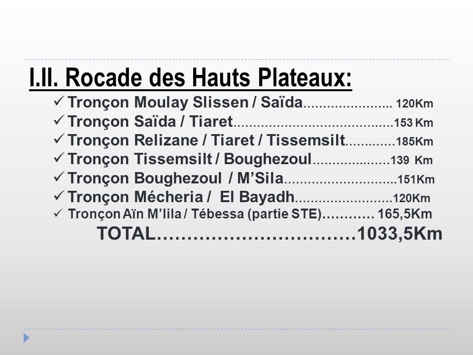 I.II. Rocade des Hauts Plateaux: Tronçon Moulay Slissen / Saïda ………………….. 120Km Tronçon Saïda / Tiaret ……………………………….….153 Km Tronçon Relizane / Tiaret
