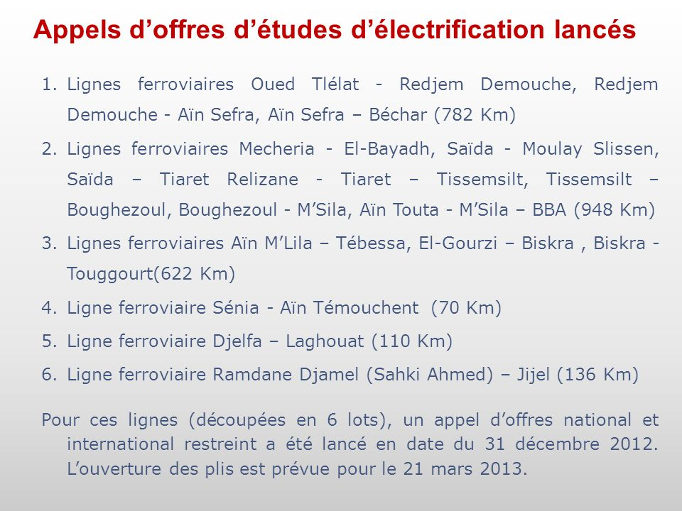 Appels doffres détudes délectrification lancés 1.Lignes ferroviaires Oued Tlélat - Redjem Demouche, Redjem Demouche - Aïn Sefra, Aïn Sefra – Béchar (7