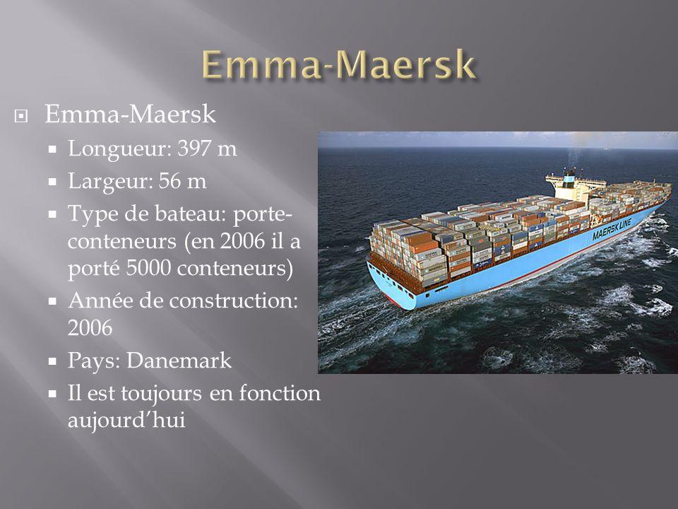 Emma-Maersk Longueur: 397 m Largeur: 56 m Type de bateau: porte- conteneurs (en 2006 il a porté 5000 conteneurs) Année de construction: 2006 Pays: Dan