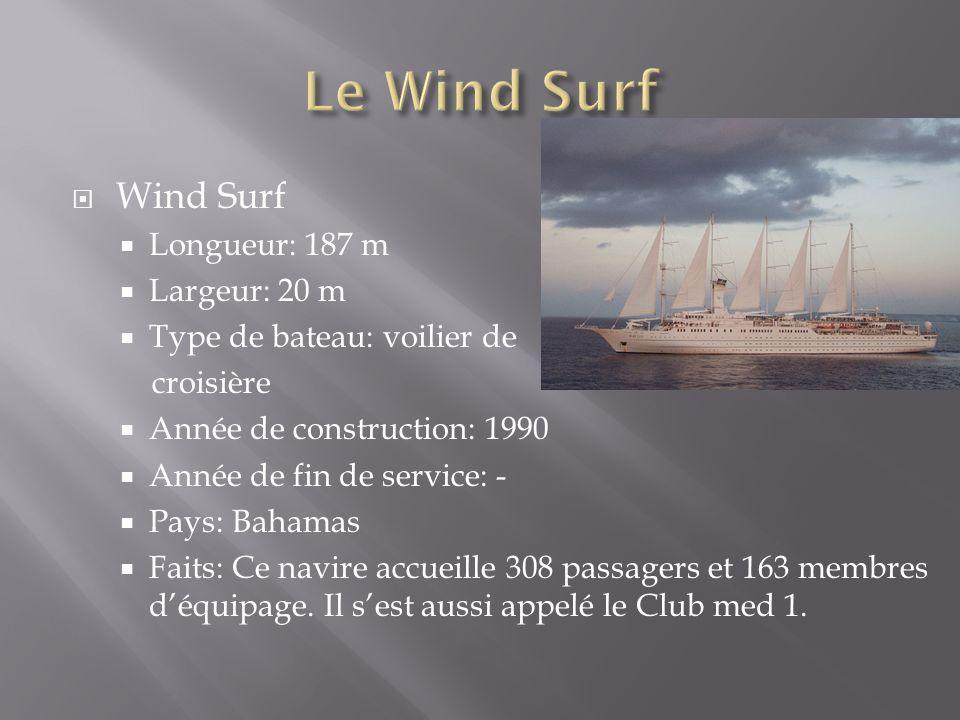 Wind Surf Longueur: 187 m Largeur: 20 m Type de bateau: voilier de croisière Année de construction: 1990 Année de fin de service: - Pays: Bahamas Fait