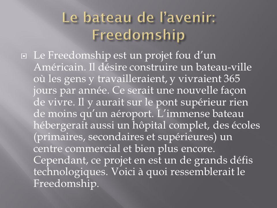 Le Freedomship est un projet fou dun Américain. Il désire construire un bateau-ville où les gens y travailleraient, y vivraient 365 jours par année. C