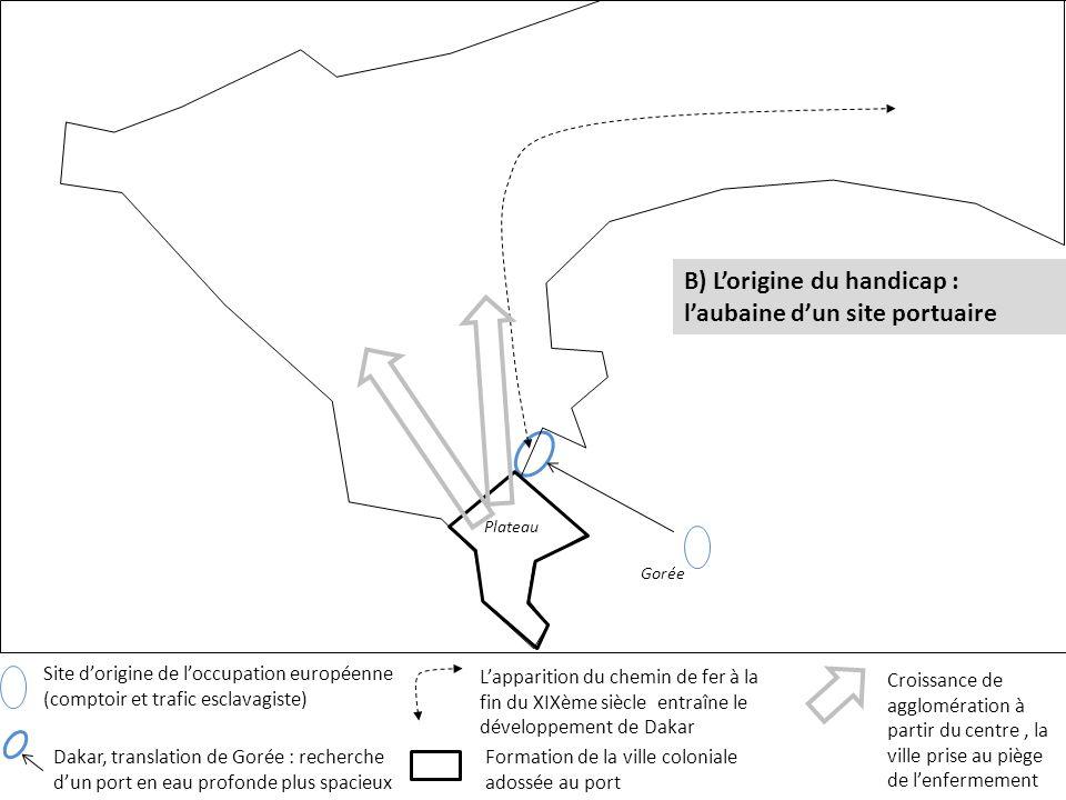 Site dorigine de loccupation européenne (comptoir et trafic esclavagiste) B) Lorigine du handicap : laubaine dun site portuaire Gorée Lapparition du c
