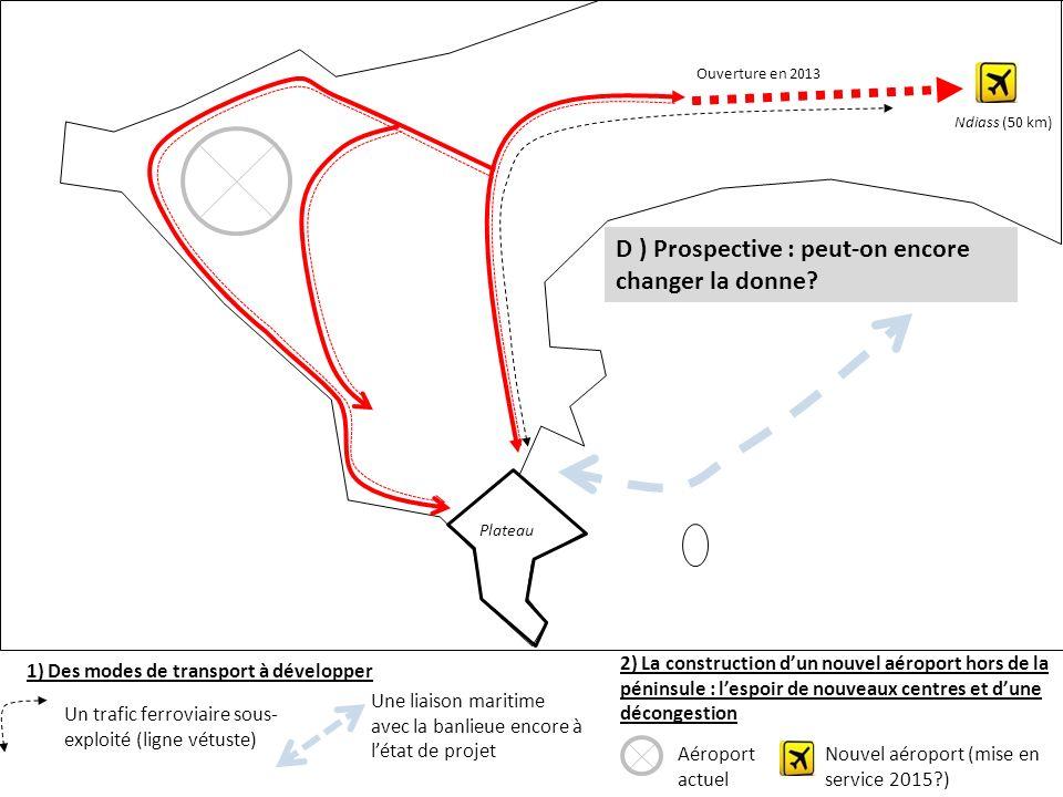 Plateau 1) Des modes de transport à développer Ouverture en 2013 Ndiass (50 km) Un trafic ferroviaire sous- exploité (ligne vétuste) Une liaison marit
