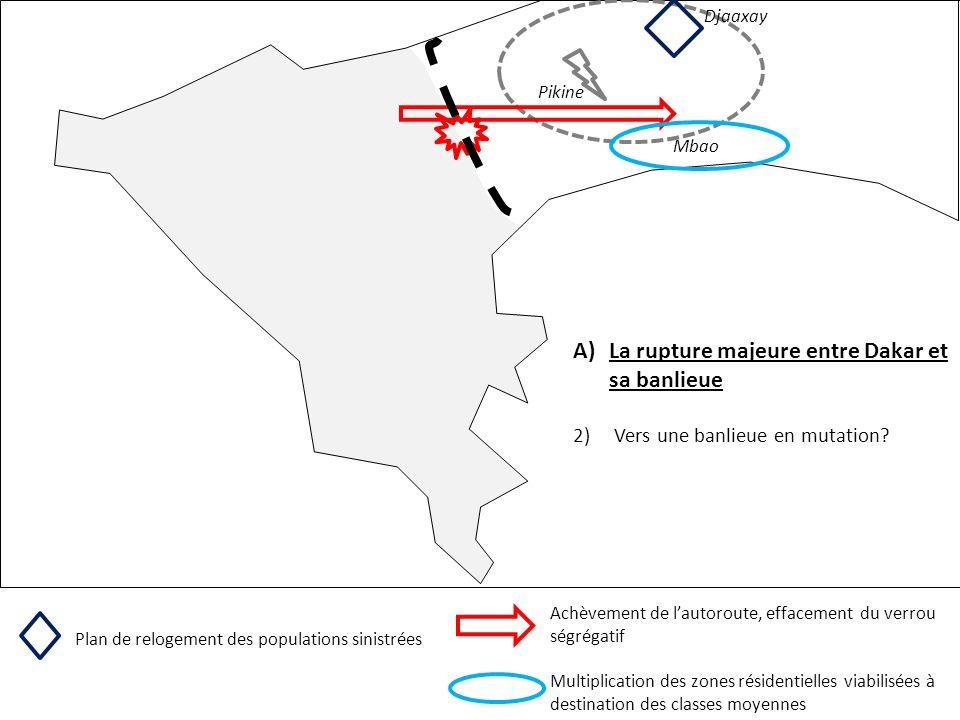 Pikine A)La rupture majeure entre Dakar et sa banlieue 2) Vers une banlieue en mutation? Djaaxay Plan de relogement des populations sinistrées Achèvem