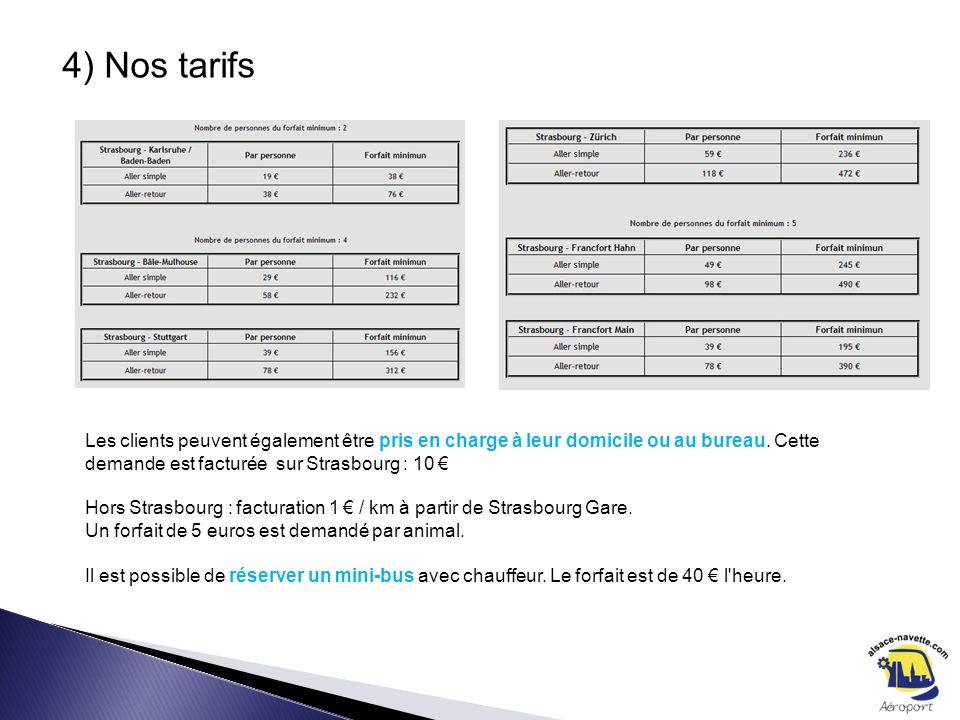 4) Nos tarifs Les clients peuvent également être pris en charge à leur domicile ou au bureau. Cette demande est facturée sur Strasbourg : 10 Hors Stra