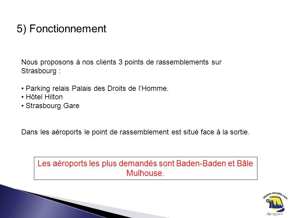5) Fonctionnement Nous proposons à nos clients 3 points de rassemblements sur Strasbourg : Parking relais Palais des Droits de lHomme. Hôtel Hilton St