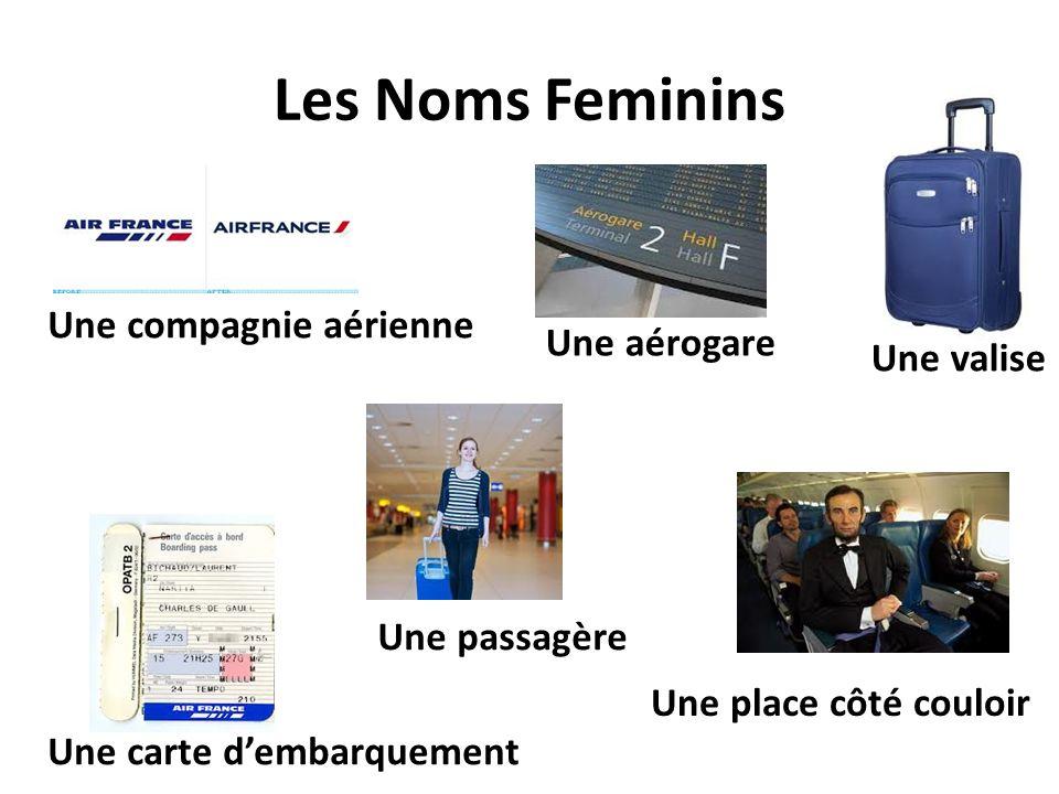 Les Noms Feminins Une compagnie aérienne Une passagère Une valise Une place côté couloir Une carte dembarquement Une aérogare
