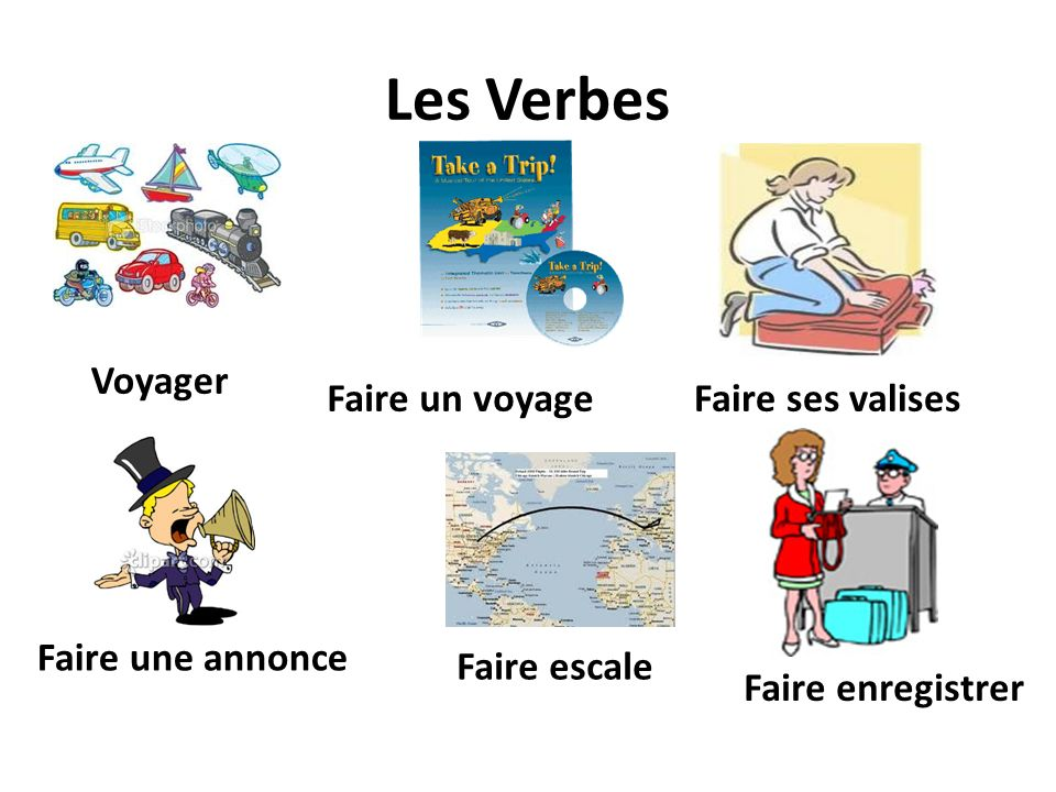 Les Verbes Voyager Faire un voyageFaire ses valises Faire une annonce Faire enregistrer Faire escale