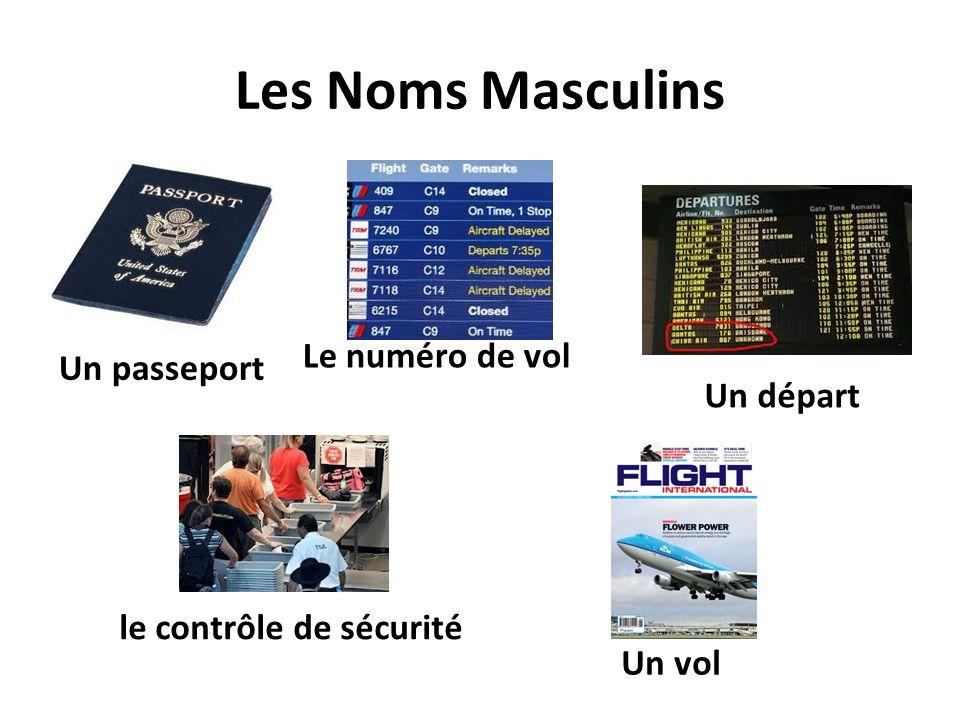 Les Noms Masculins Un passeport Le numéro de vol le contrôle de sécurité Un départ Un vol