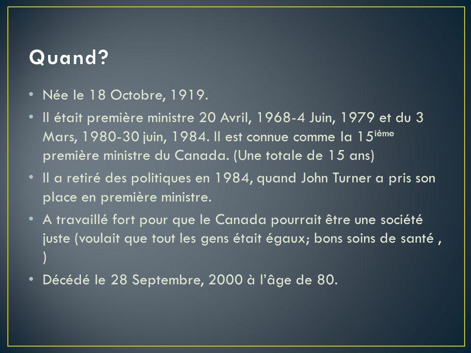 Née le 18 Octobre, 1919. Il était première ministre 20 Avril, 1968-4 Juin, 1979 et du 3 Mars, 1980-30 juin, 1984. Il est connue comme la 15 ième premi
