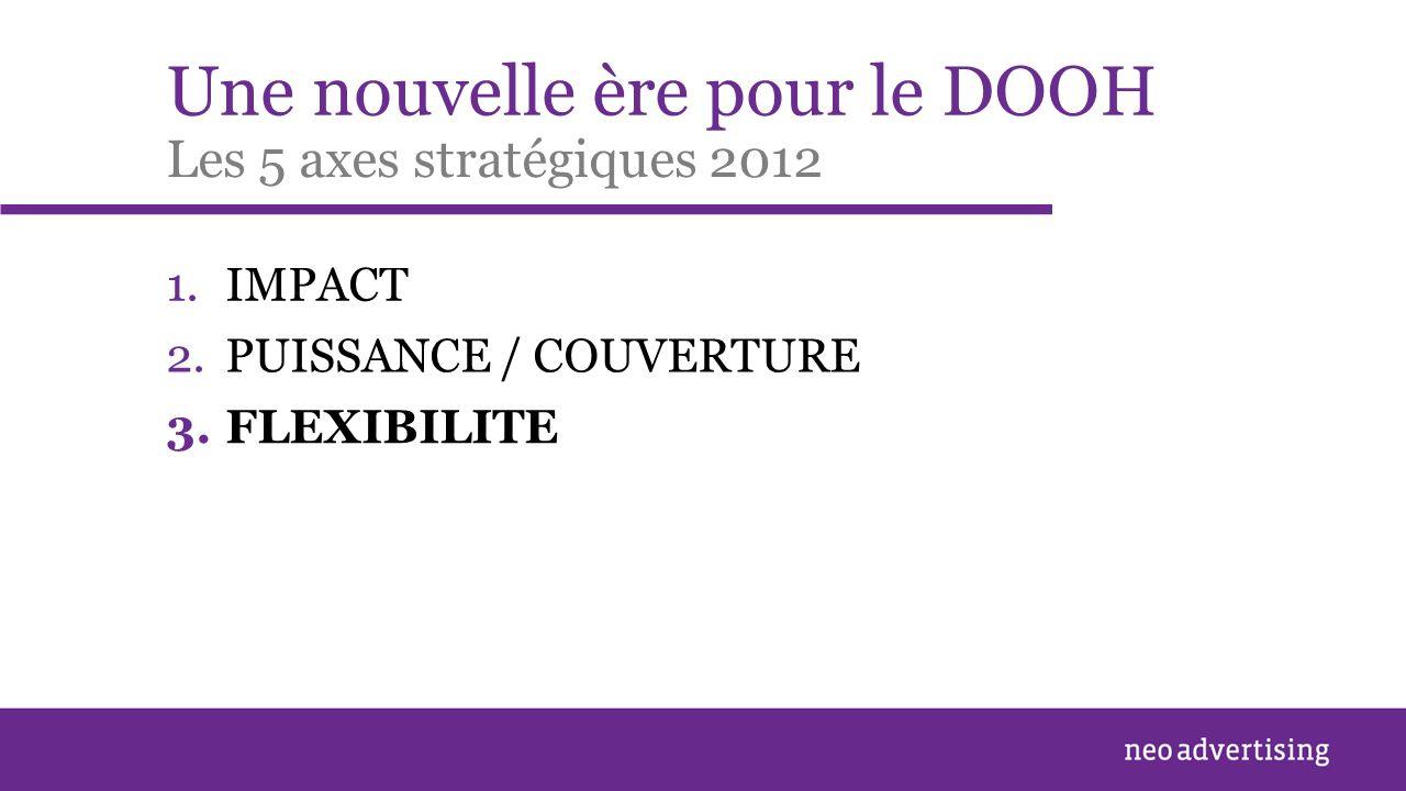 Une nouvelle ère pour le DOOH 1.IMPACT Les 5 axes stratégiques 2012 2.PUISSANCE / COUVERTURE 3.FLEXIBILITE