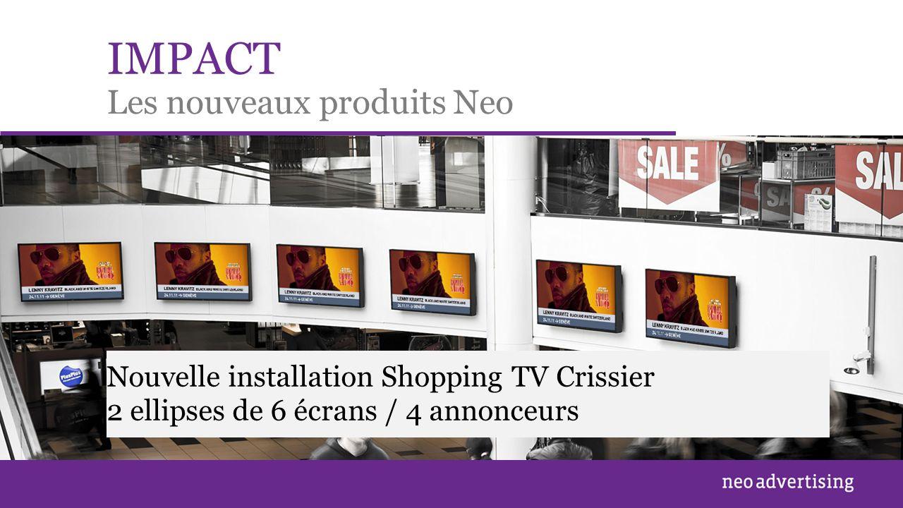IMPACT Les nouveaux produits Neo Nouvelle installation Shopping TV Crissier 2 ellipses de 6 écrans / 4 annonceurs