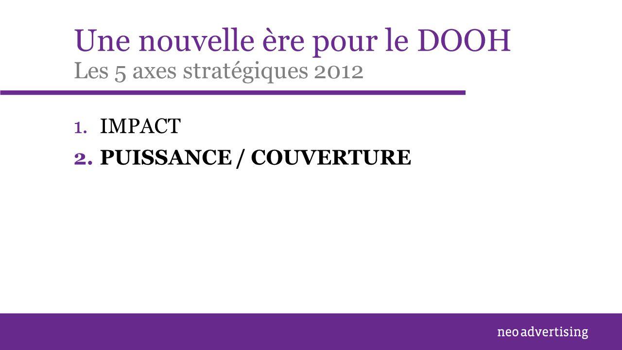 Une nouvelle ère pour le DOOH 1.IMPACT Les 5 axes stratégiques 2012 2.PUISSANCE / COUVERTURE