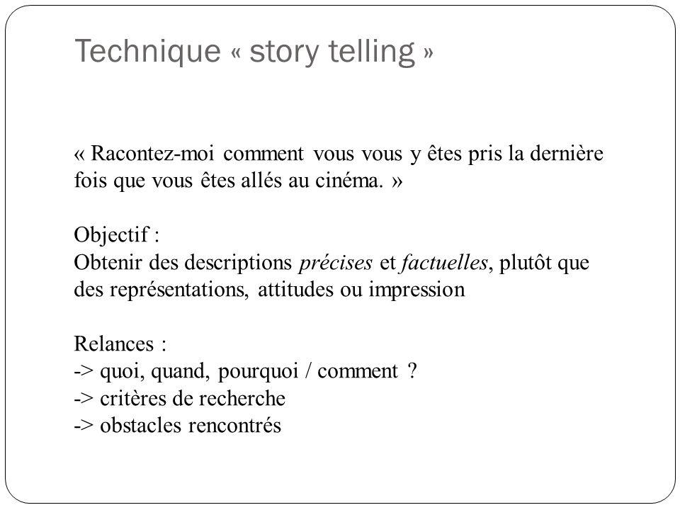 Technique « story telling » « Racontez-moi comment vous vous y êtes pris la dernière fois que vous êtes allés au cinéma. » Objectif : Obtenir des desc