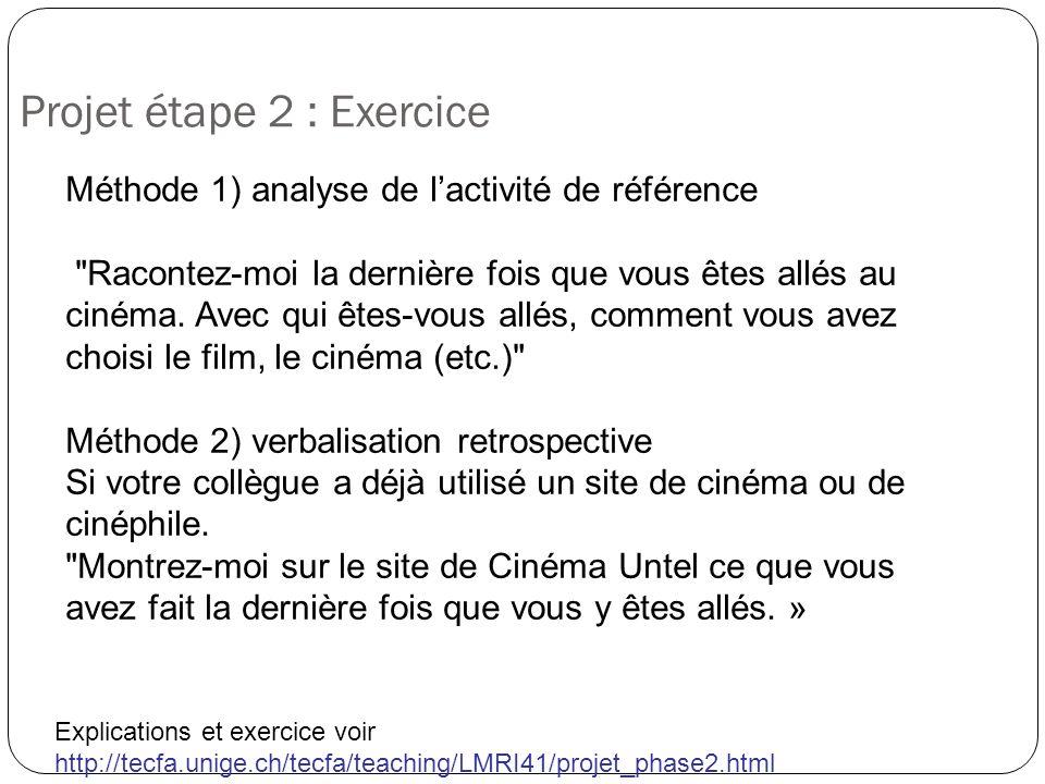 Projet étape 2 : Exercice Explications et exercice voir http://tecfa.unige.ch/tecfa/teaching/LMRI41/projet_phase2.html Méthode 1) analyse de lactivité
