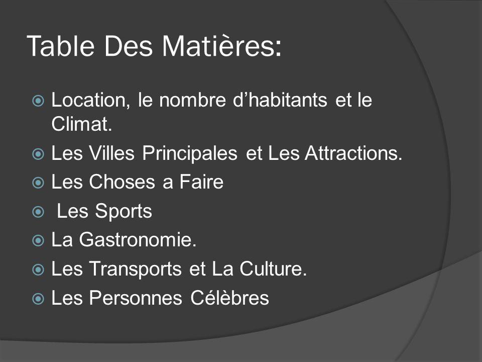Table Des Matières: Location, le nombre dhabitants et le Climat.