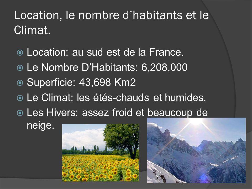 Location, le nombre dhabitants et le Climat. Location: au sud est de la France.