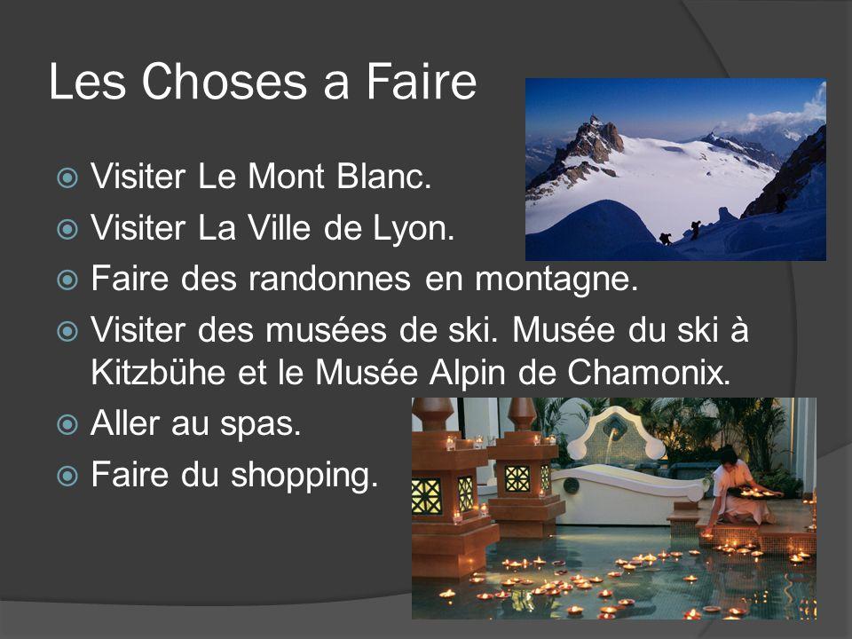 Les Choses a Faire Visiter Le Mont Blanc. Visiter La Ville de Lyon.