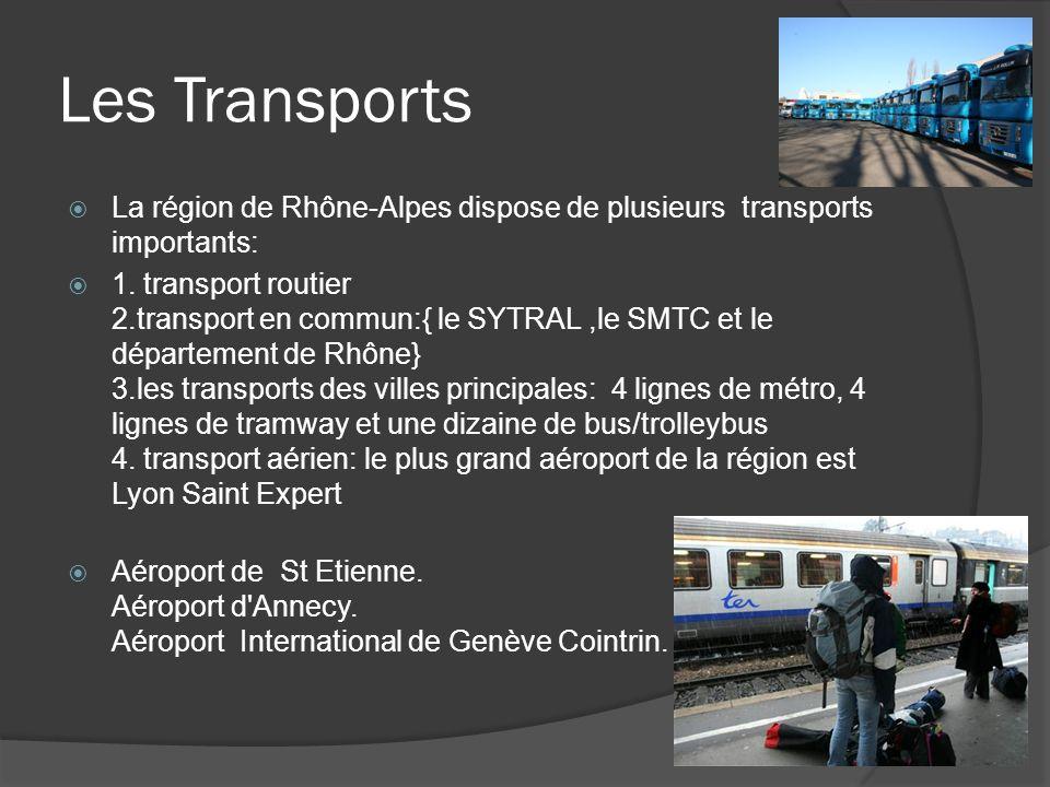Les Transports La région de Rhône-Alpes dispose de plusieurs transports importants: 1.