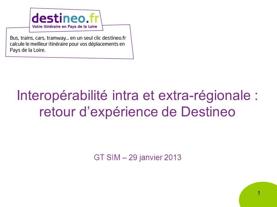 11 Interopérabilité intra et extra-régionale : retour dexpérience de Destineo GT SIM – 29 janvier 2013
