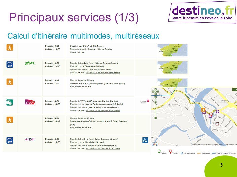 Principaux services (1/3) 3 Calcul ditinéraire multimodes, multiréseaux