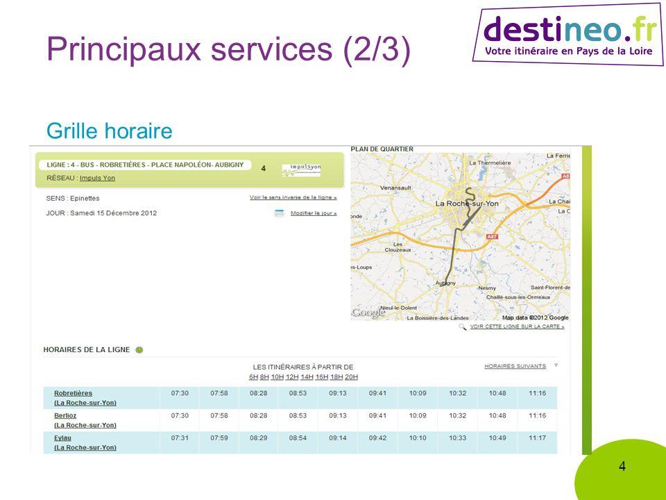 4 Principaux services (2/3) Grille horaire