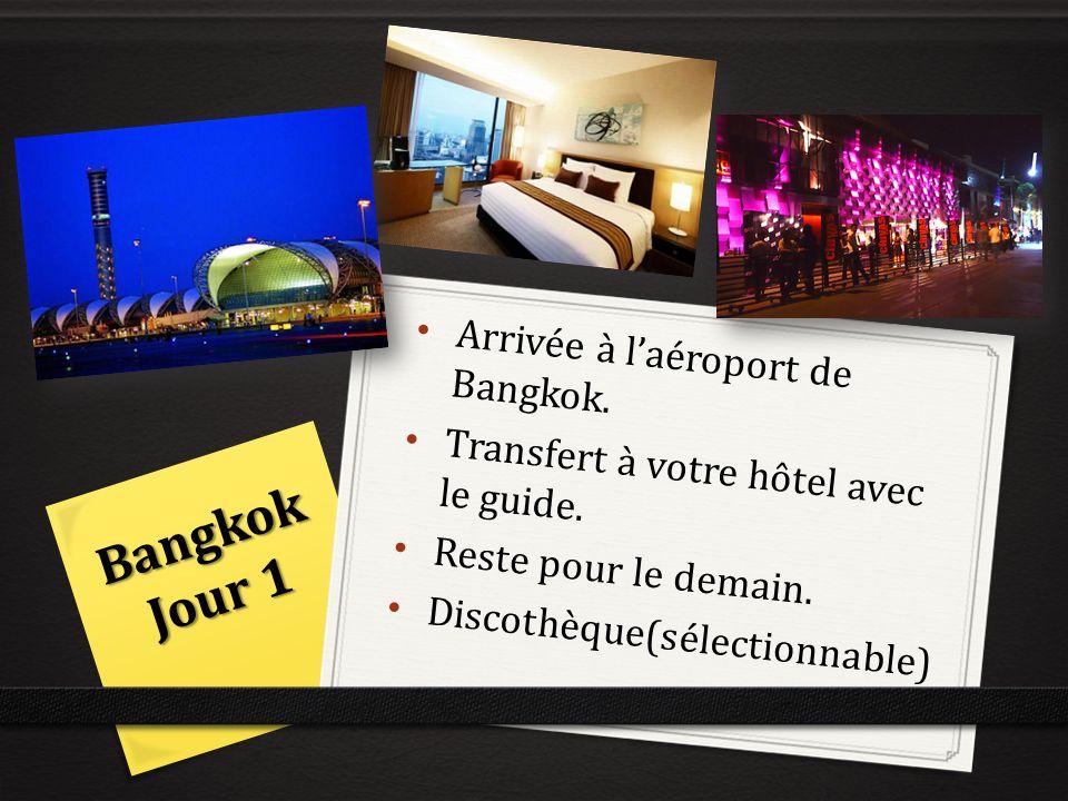 Bangkok Jour 1 Arrivée à laéroport de Bangkok. Transfert à votre hôtel avec le guide. Reste pour le demain. Discothèque(sélectionnable)