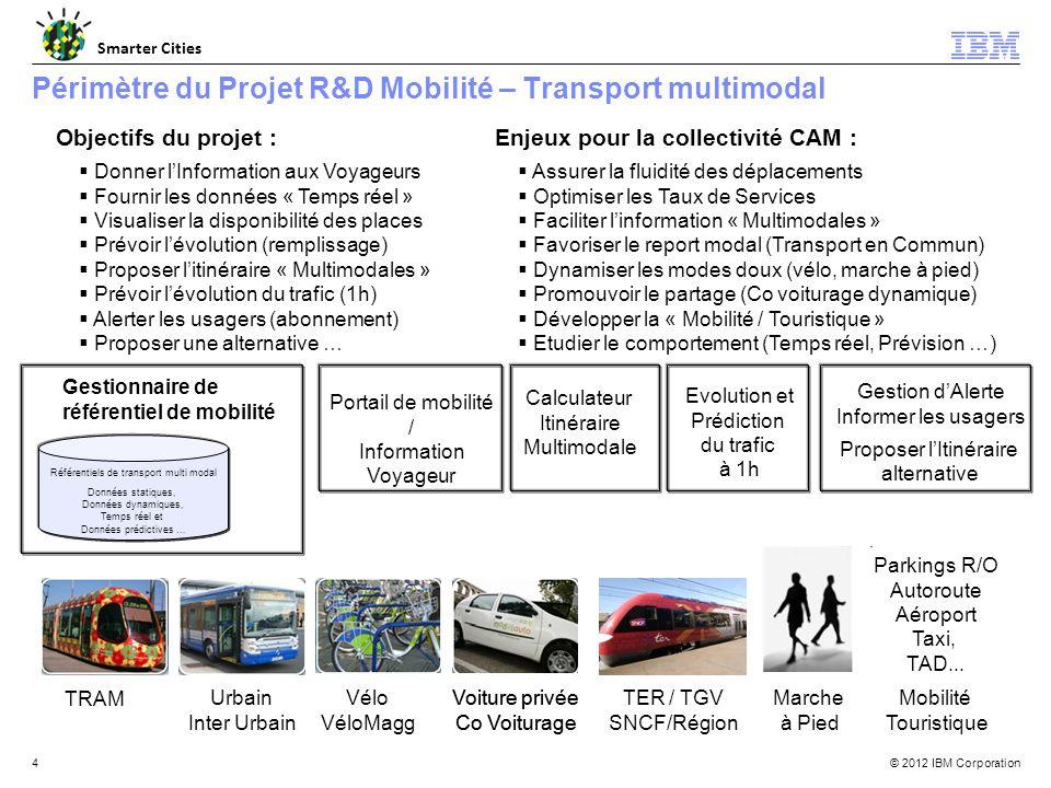 © 2012 IBM Corporation Smarter Cities 4 Périmètre du Projet R&D Mobilité – Transport multimodal Gestionnaire de référentiel de mobilité TRAM Urbain Inter Urbain Vélo VéloMagg Voiture privée Co Voiturage Voiture privée Co Voiturage TER / TGV SNCF/Région Marche à Pied Parkings R/O Autoroute Aéroport Taxi, TAD...
