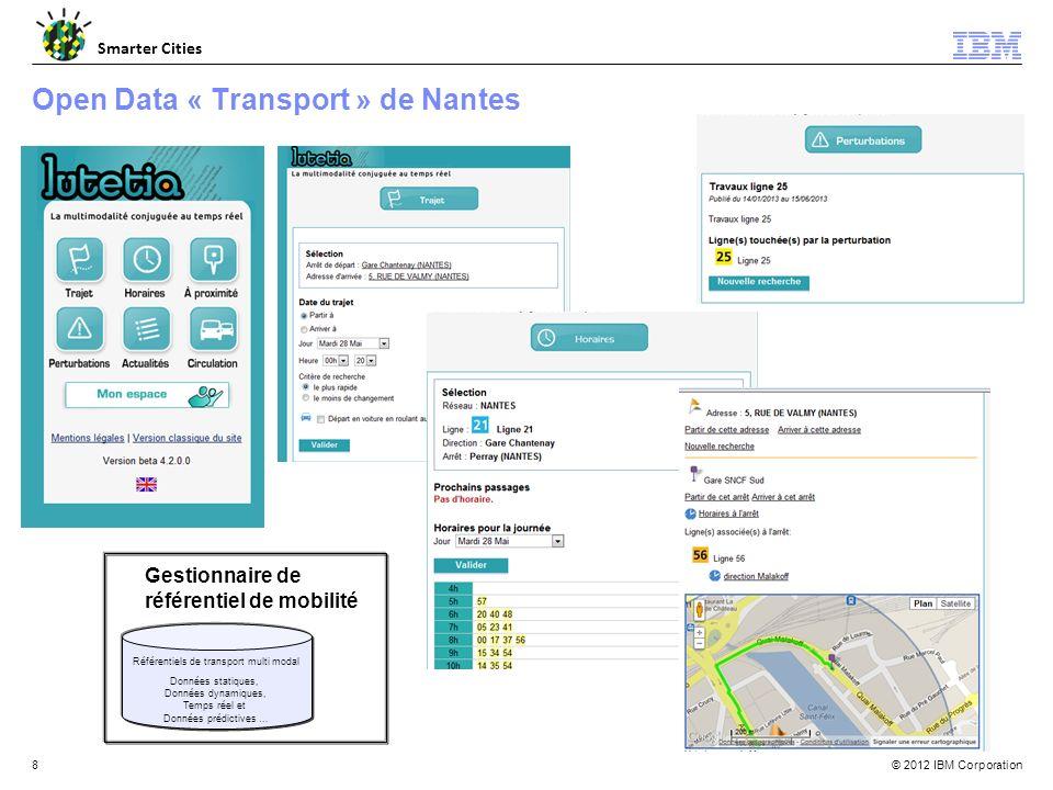 © 2012 IBM Corporation Smarter Cities 8 Open Data « Transport » de Nantes Gestionnaire de référentiel de mobilité Référentiels de transport multi modal Données statiques, Données dynamiques, Temps réel et Données prédictives …