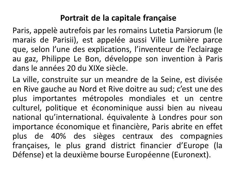 Portrait de la capitale franҫaise Paris, appelè autrefois par les romains Lutetia Parsiorum (le marais de Parisii), est appelée aussi Ville Lumière pa