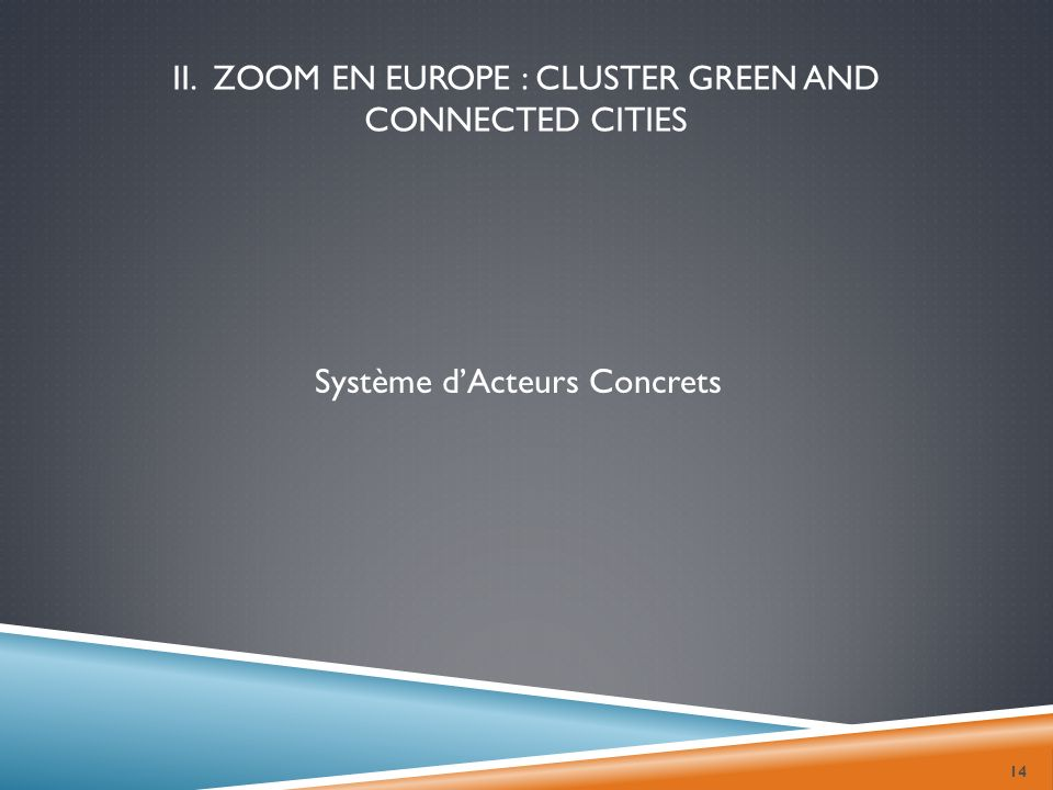 14 II. ZOOM EN EUROPE : CLUSTER GREEN AND CONNECTED CITIES Système dActeurs Concrets