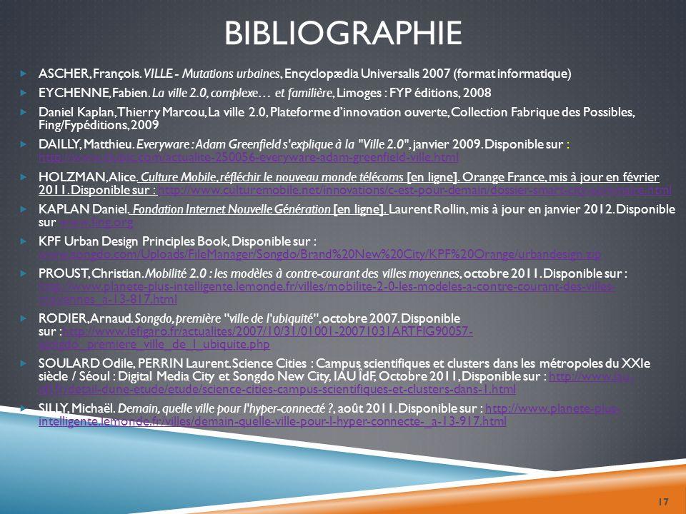 BIBLIOGRAPHIE ASCHER, François. VILLE - Mutations urbaines, Encyclopædia Universalis 2007 (format informatique) EYCHENNE, Fabien. La ville 2.0, comple