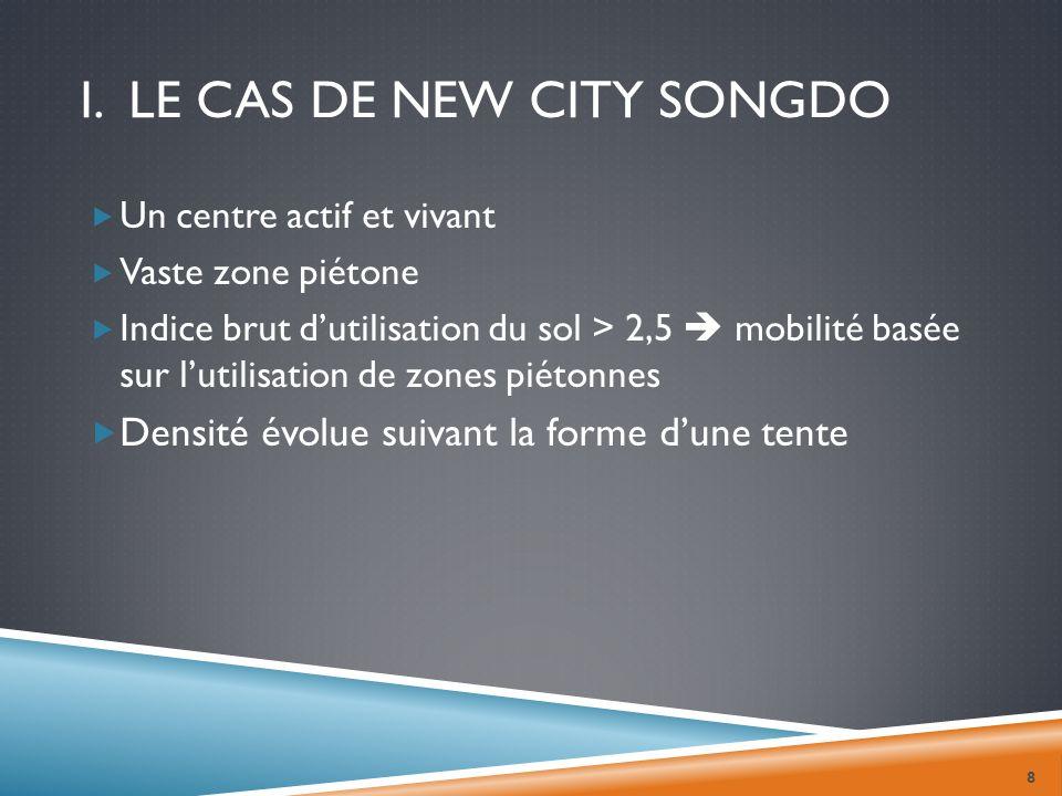 I. LE CAS DE NEW CITY SONGDO Un centre actif et vivant Vaste zone piétone Indice brut dutilisation du sol > 2,5 mobilité basée sur lutilisation de zon