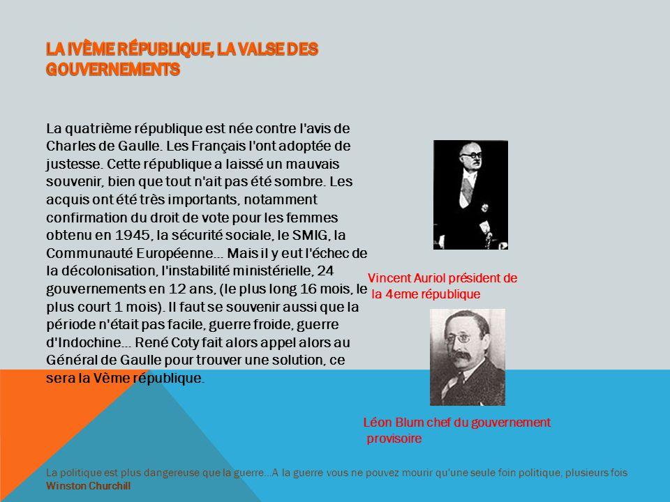 La cinquième République française voulue par Charles de Gaulle, est un pouvoir fort, le premier ministre gouverne la France, mais le Président dirige l action et a des domaines réservés, comme la politique étrangère, l armée...