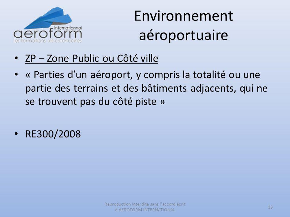 Environnement aéroportuaire ZP – Zone Public ou Côté ville « Parties dun aéroport, y compris la totalité ou une partie des terrains et des bâtiments a