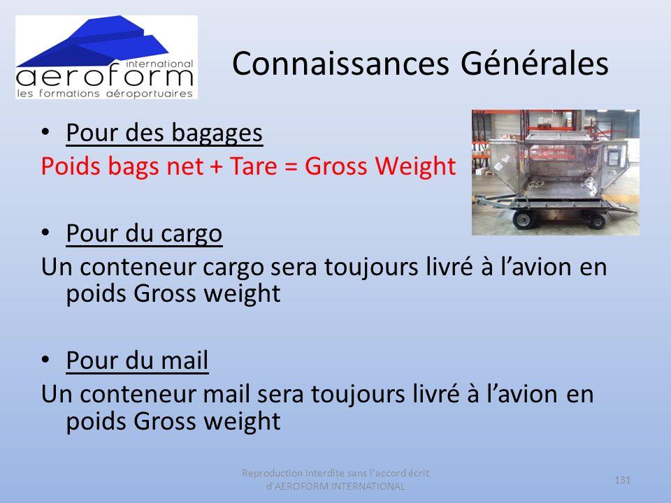 Connaissances Générales Pour des bagages Poids bags net + Tare = Gross Weight Pour du cargo Un conteneur cargo sera toujours livré à lavion en poids G