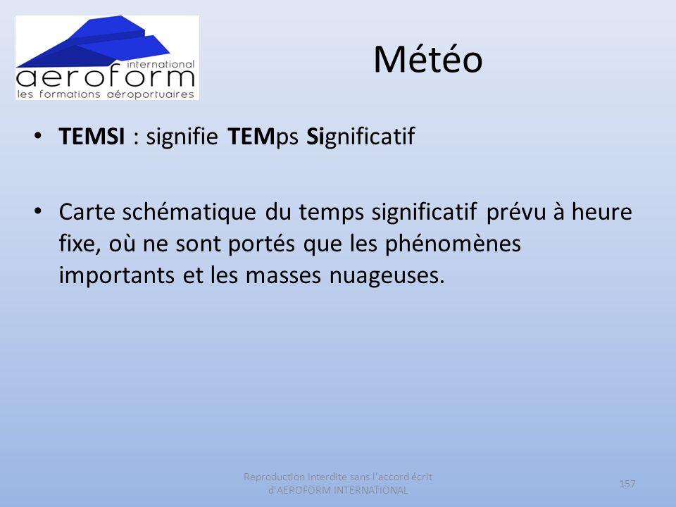 Météo TEMSI : signifie TEMps Significatif Carte schématique du temps significatif prévu à heure fixe, où ne sont portés que les phénomènes importants