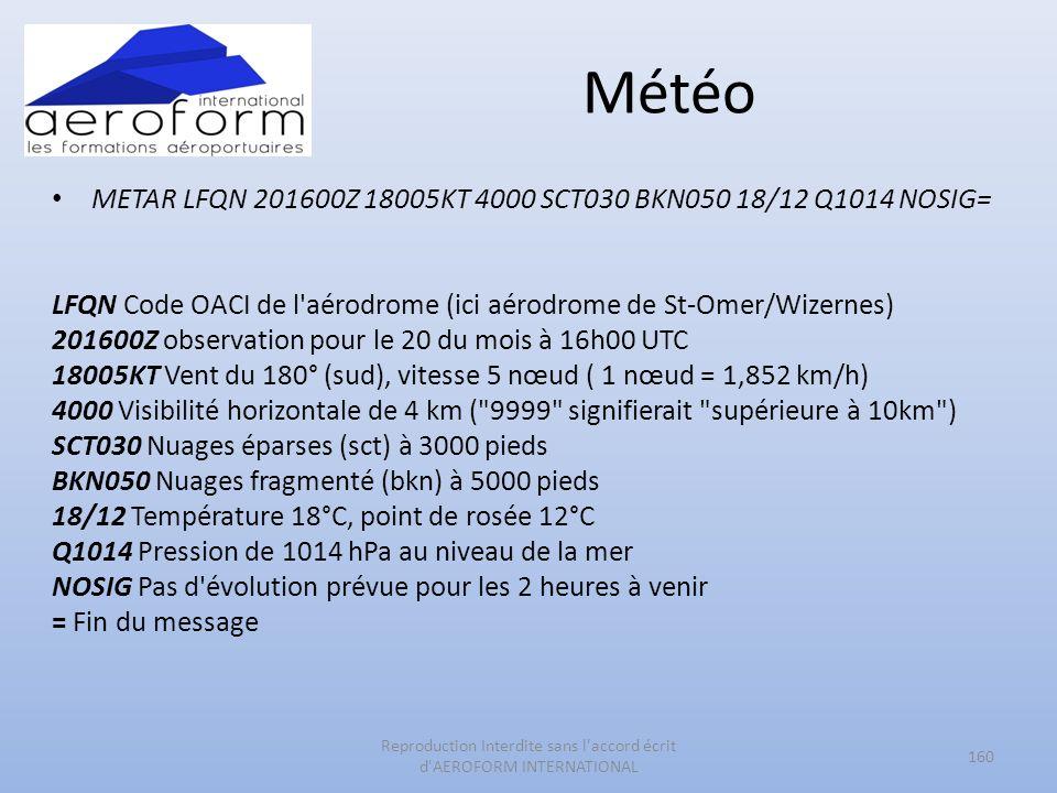 Météo METAR LFQN 201600Z 18005KT 4000 SCT030 BKN050 18/12 Q1014 NOSIG= LFQN Code OACI de l'aérodrome (ici aérodrome de St-Omer/Wizernes) 201600Z obser