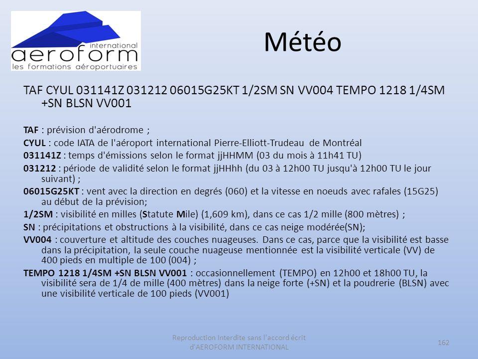 Météo TAF CYUL 031141Z 031212 06015G25KT 1/2SM SN VV004 TEMPO 1218 1/4SM +SN BLSN VV001 TAF : prévision d'aérodrome ; CYUL : code IATA de l'aéroport i