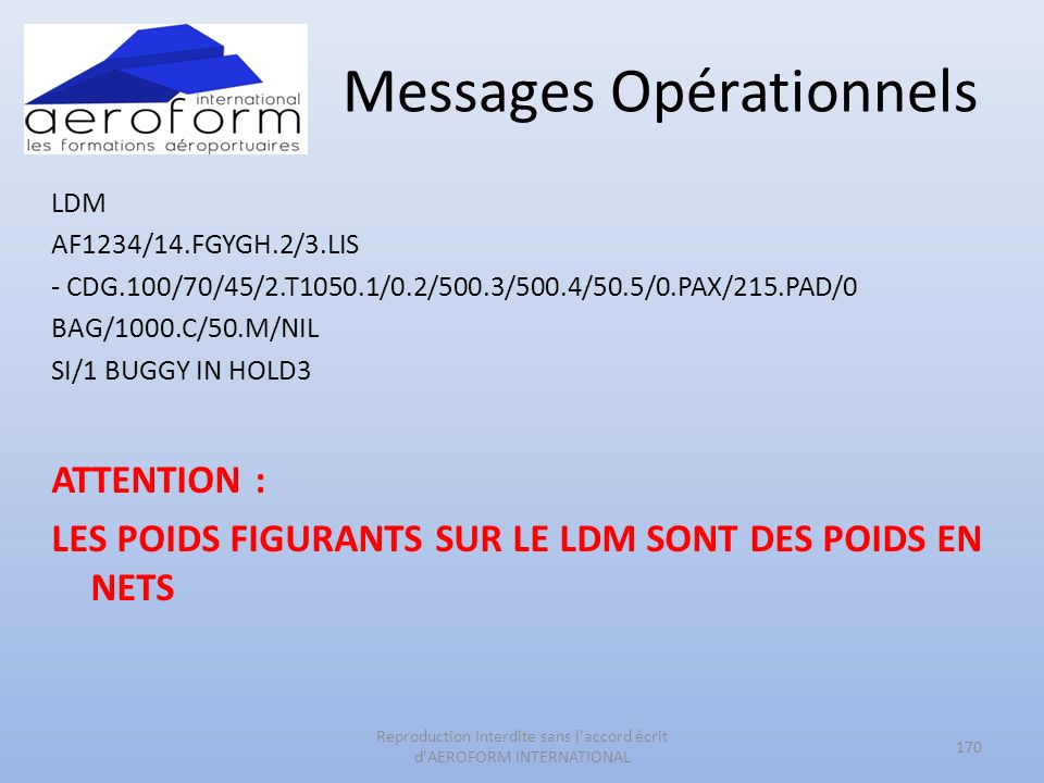Messages Opérationnels LDM AF1234/14.FGYGH.2/3.LIS - CDG.100/70/45/2.T1050.1/0.2/500.3/500.4/50.5/0.PAX/215.PAD/0 BAG/1000.C/50.M/NIL SI/1 BUGGY IN HO