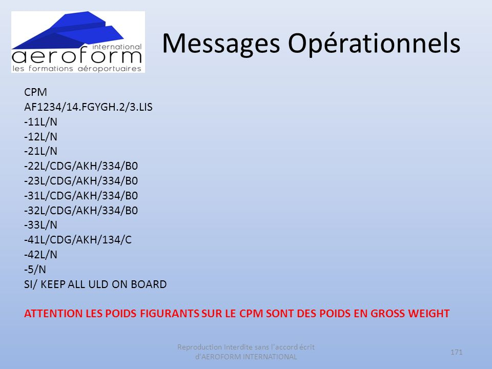 Messages Opérationnels CPM AF1234/14.FGYGH.2/3.LIS -11L/N -12L/N -21L/N -22L/CDG/AKH/334/B0 -23L/CDG/AKH/334/B0 -31L/CDG/AKH/334/B0 -32L/CDG/AKH/334/B0 -33L/N -41L/CDG/AKH/134/C -42L/N -5/N SI/ KEEP ALL ULD ON BOARD ATTENTION LES POIDS FIGURANTS SUR LE CPM SONT DES POIDS EN GROSS WEIGHT 171 Reproduction Interdite sans l accord écrit d AEROFORM INTERNATIONAL
