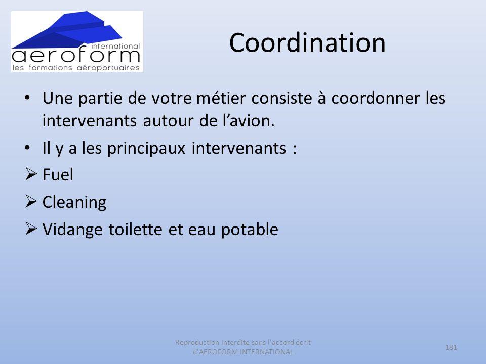Coordination Une partie de votre métier consiste à coordonner les intervenants autour de lavion. Il y a les principaux intervenants : Fuel Cleaning Vi