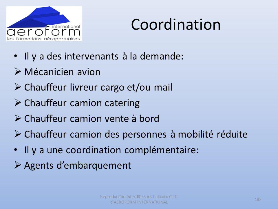Coordination Il y a des intervenants à la demande: Mécanicien avion Chauffeur livreur cargo et/ou mail Chauffeur camion catering Chauffeur camion vent