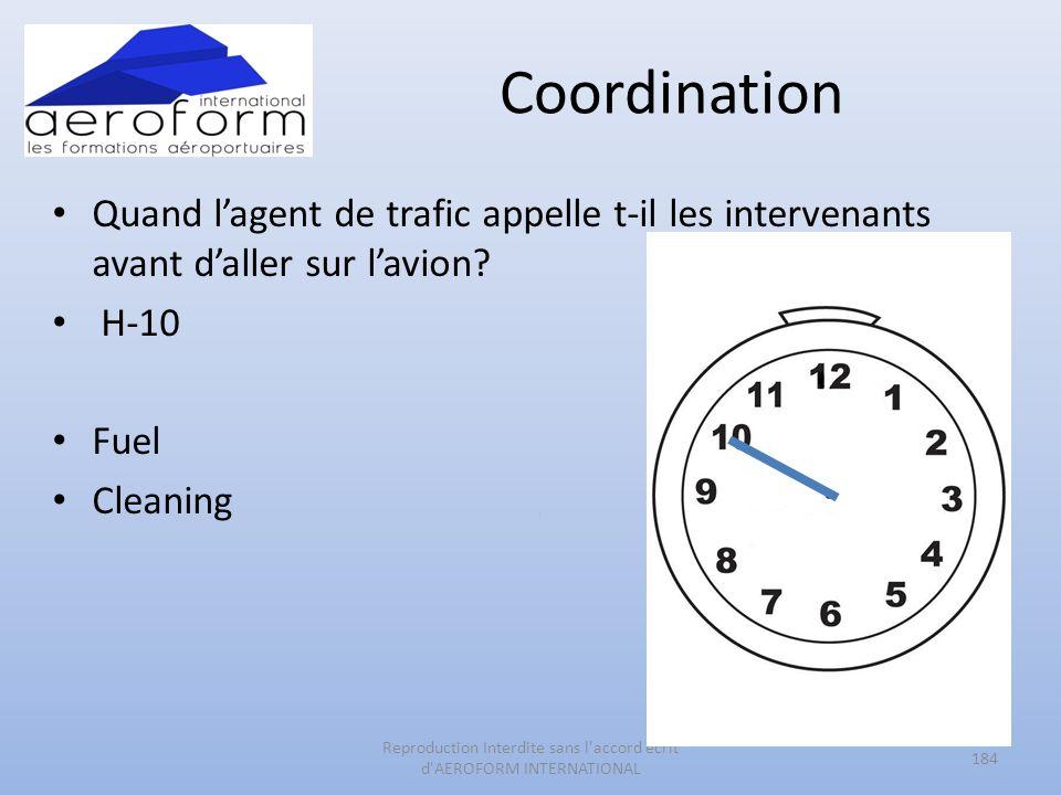 Coordination Quand lagent de trafic appelle t-il les intervenants avant daller sur lavion? H-10 Fuel Cleaning 184 Reproduction Interdite sans l'accord